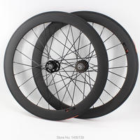 Newest 700C 60mm Fixed gear bike matt 3K full carbon fibre bicycle wheelset carbon clincher tubular rims 23 25mm width Free ship|Bicycle Wheel| |  -