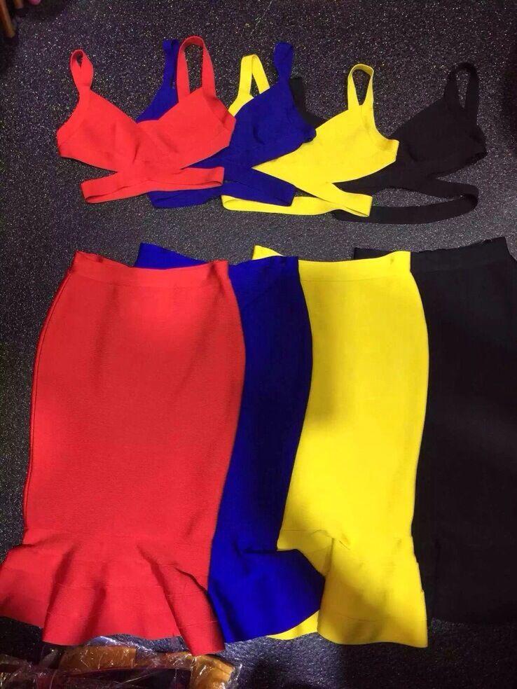 Top qualité 2 unités 4 couleurs chaude Sexy robe à volants robe Bandage