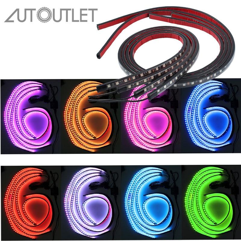 Autoutlet 4 Pcs 12v Rgb Led 8 Color Strip Under Car Tube Underbody Underglow System Neon Light Remote 90cm & 120cm Car Light Accessories Car Lights