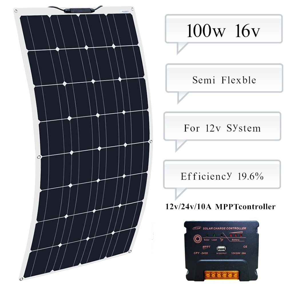 BOGUANG 100w Flexible Solar Panel Module 10A MPPT Controller For Caravan RV Boat Yacht Car Home Roof 12v Battery Power Charger