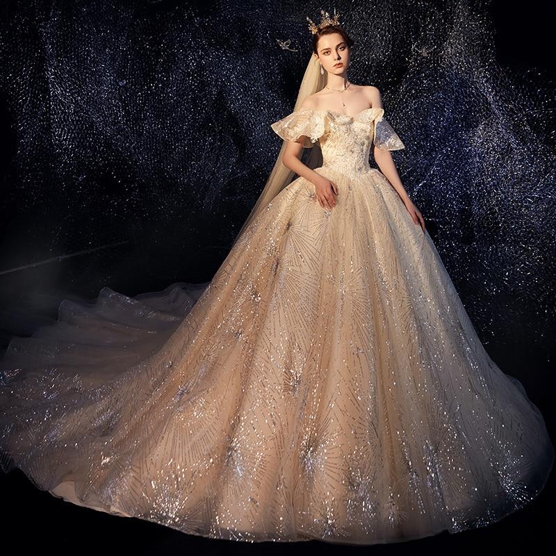 Vivian's Bridal Fancy Sky Empire Weding Dress Luxury Lace Sequin Appliques Flare Sleeve Romantic Boat Neck Elegant Bridal Dress