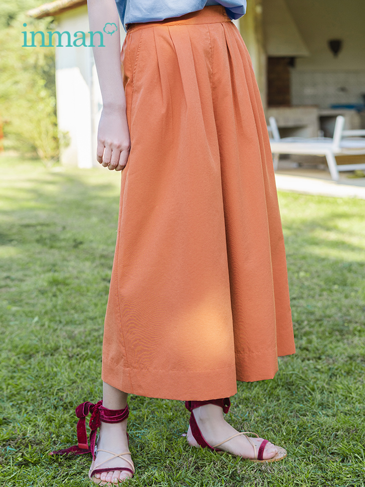 INMAN Summer Solid Elastic Waist Fold Slim Comfortable Minimalism All Matched Literary Women Loose PantsPants & Capris   -