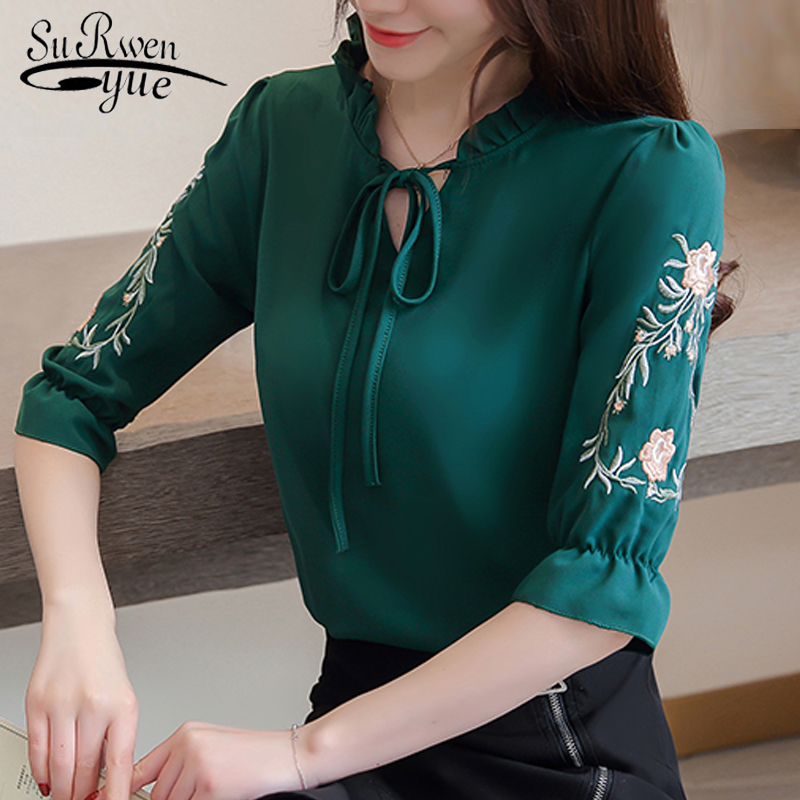 women tops and   blouses   flare short sleeve summer tops flower embroidery chiffon women   blouse     shirt   plus size women   shirt   2721 50