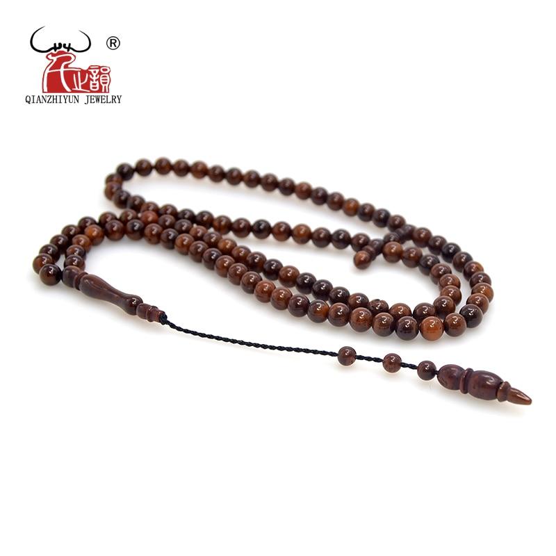 Ислам высокое качество мусульманские четки бусы 99 Бог молитва бусины натуральные пальмовые фрукты Kuka Tasbih браслет 4-10 мм окрашенный коричнев...