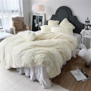 3/4/6/7 pc Pure Color Mink Velvet Bedding Set 8 colors lambs wool Fleece Duvet Cover set Bed skirt Fitted Twin Queen King size46