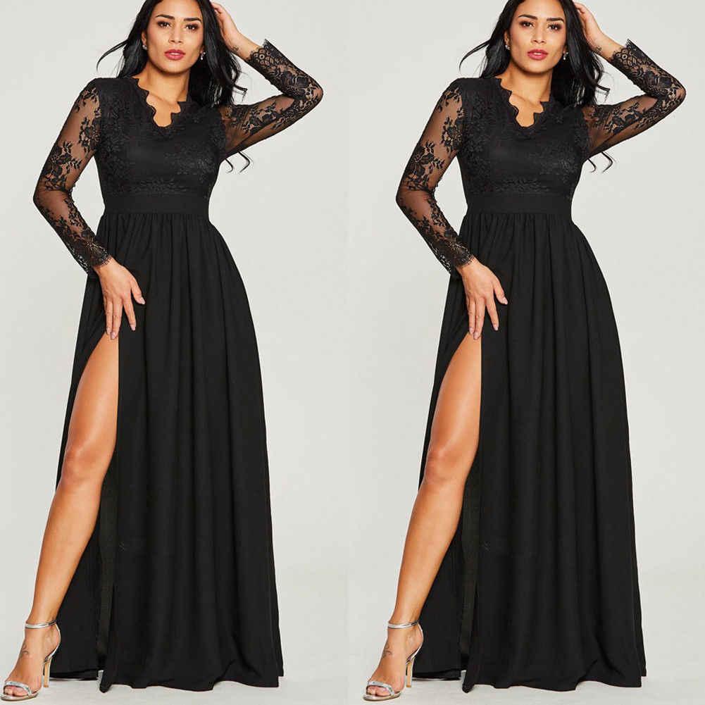 Boho סגנון ארוך חצאיות נשים פורמליות ארוך נשף ערב המפלגה פיצול V צוואר תחרה ארוך שרוול חתונה חצאיות