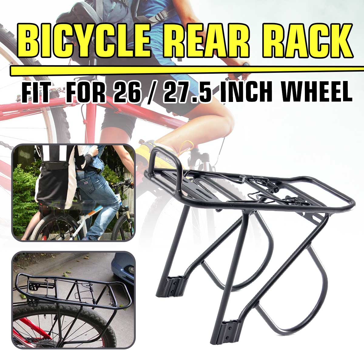 26/'/'-27/'/'Chrome Rear Bike Rack Carrier Spring Mountain Touring Bicycle Universal