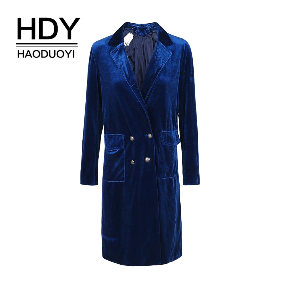 HDY Haoduoyi Винтаж элегантный для женщин пальто двубортный тонкий Тренч Весна повседневное леди свободные бархат женская одежда