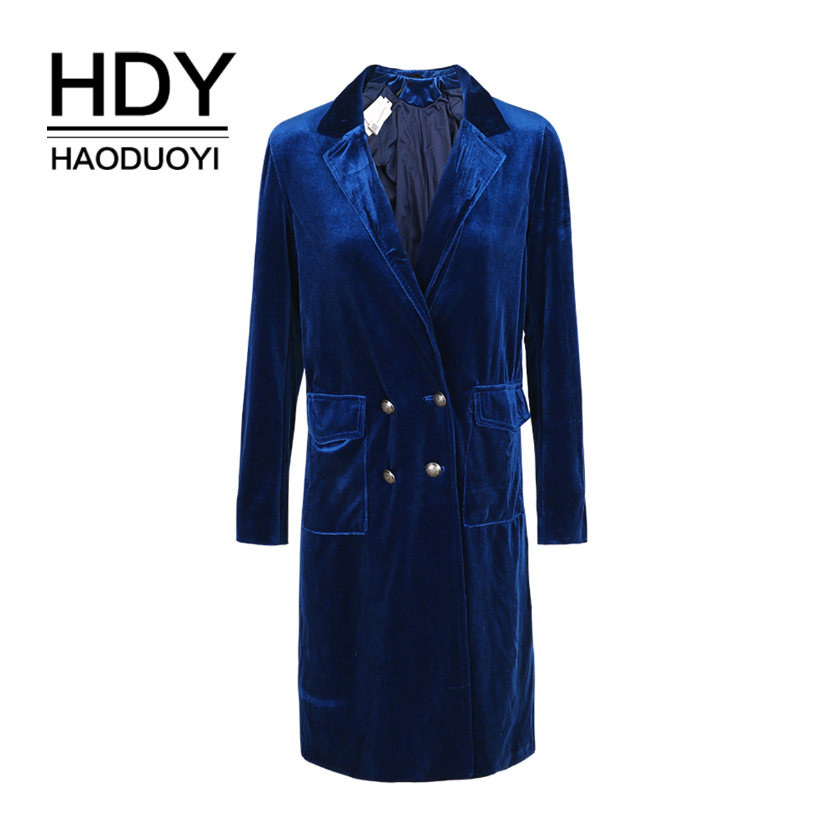 HDY Haoduoyi Vintage Elegant Women Coat Double Breasted Slim Trench Coat Spring Casual Lady Loose Velvet Female Outwears