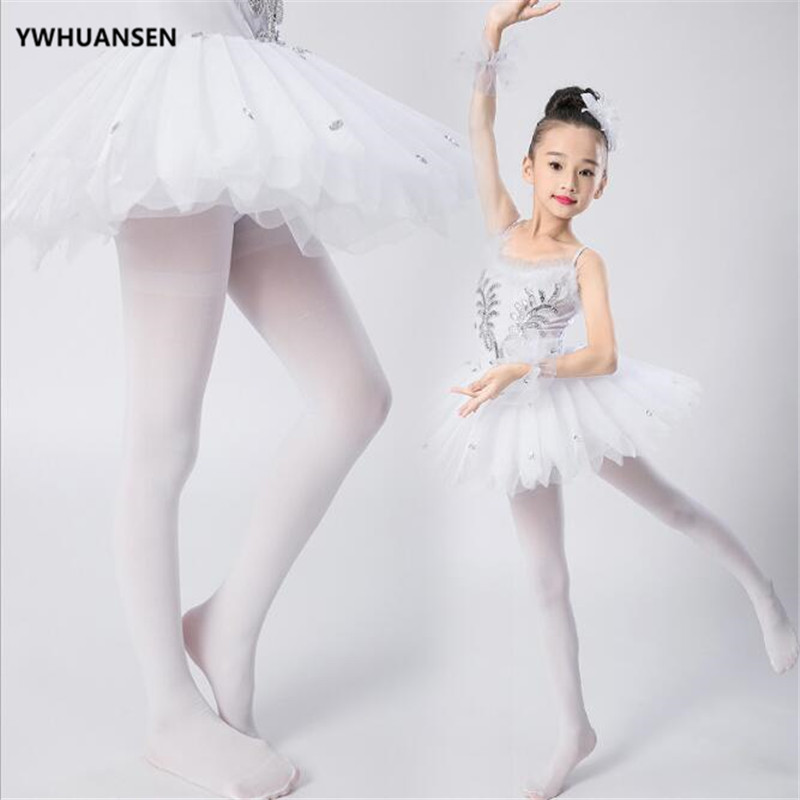 YWHUANSEN Summer Spring Candy Color Kids Pantyhose Ballet Dance Tights for Girls Stocking Children Velvet Solid White Pantyhose 3