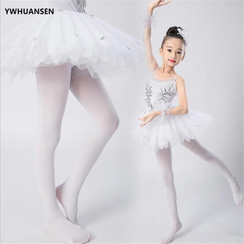 YWHUANSEN Summer Spring Candy Color Kids Pantyhose Ballet Dance Tights for Girls Stocking Children Velvet Solid White Pantyhose 3