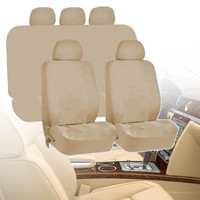 Universal Beige Car Seat Covers Cushion Protectors Full 9 Piece Set Washable Front Rear