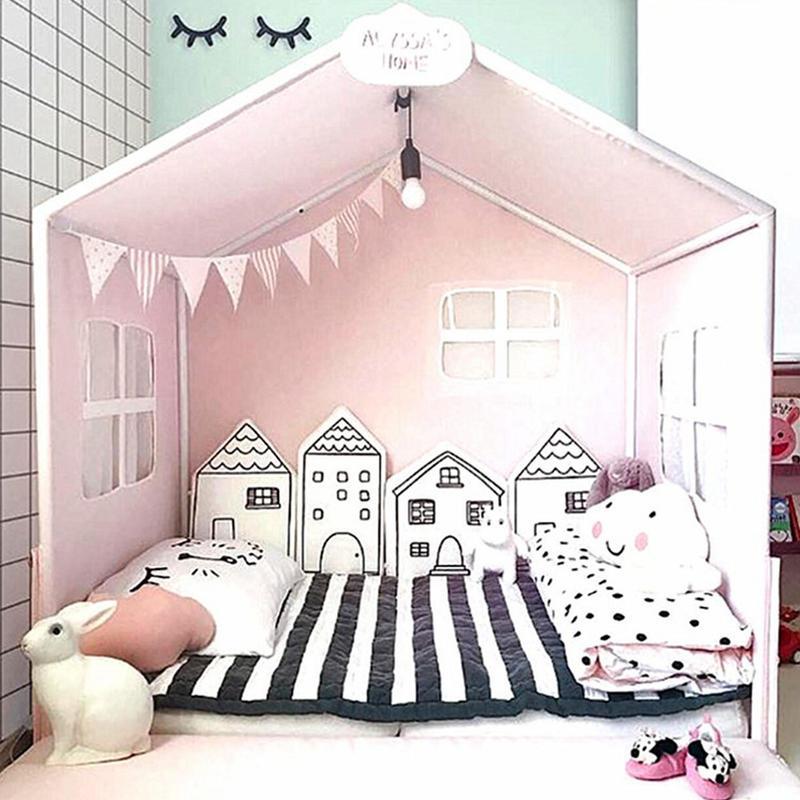 Tour de lit bébé pour nouveau-nés nordique INS petite maison coussin de lit protecteur bébé lit autour des oreillers BabyRoom décor pour fille garçon