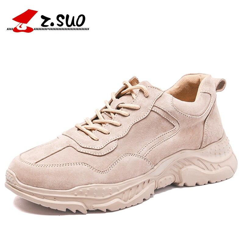Zsuo 패션 낮은 최고 스 니 커 즈 남자 레이스 높은 품질 스웨이드 가죽 여름 남자 캐주얼 신발 높이 증가 신발 남자-에서남성용 캐주얼 신발부터 신발 의  그룹 1