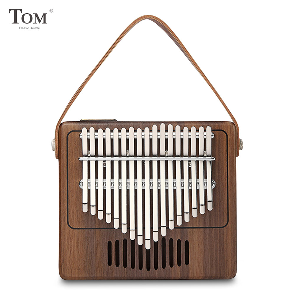 TK - R1 17-Key Kalimba Thumb Piano Walnut Wood Musical Instrument Special Vintage Radio Shape Magic Music Box With Leather Strap
