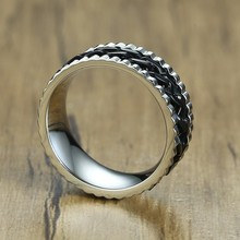 8MM Men Meditation Spinner Ring Black Curb Chain with Silver Tone Gear Grooved Edge Comfort Fit Wedding Band