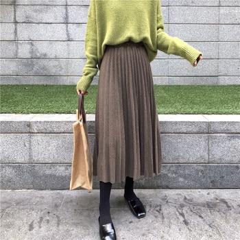 af26013d9e 2018 las nuevas mujeres Otoño e Invierno pitillo de talle alto de mujer de  oro de terciopelo plisado falda faldas sólido Falda plisada envío gratis
