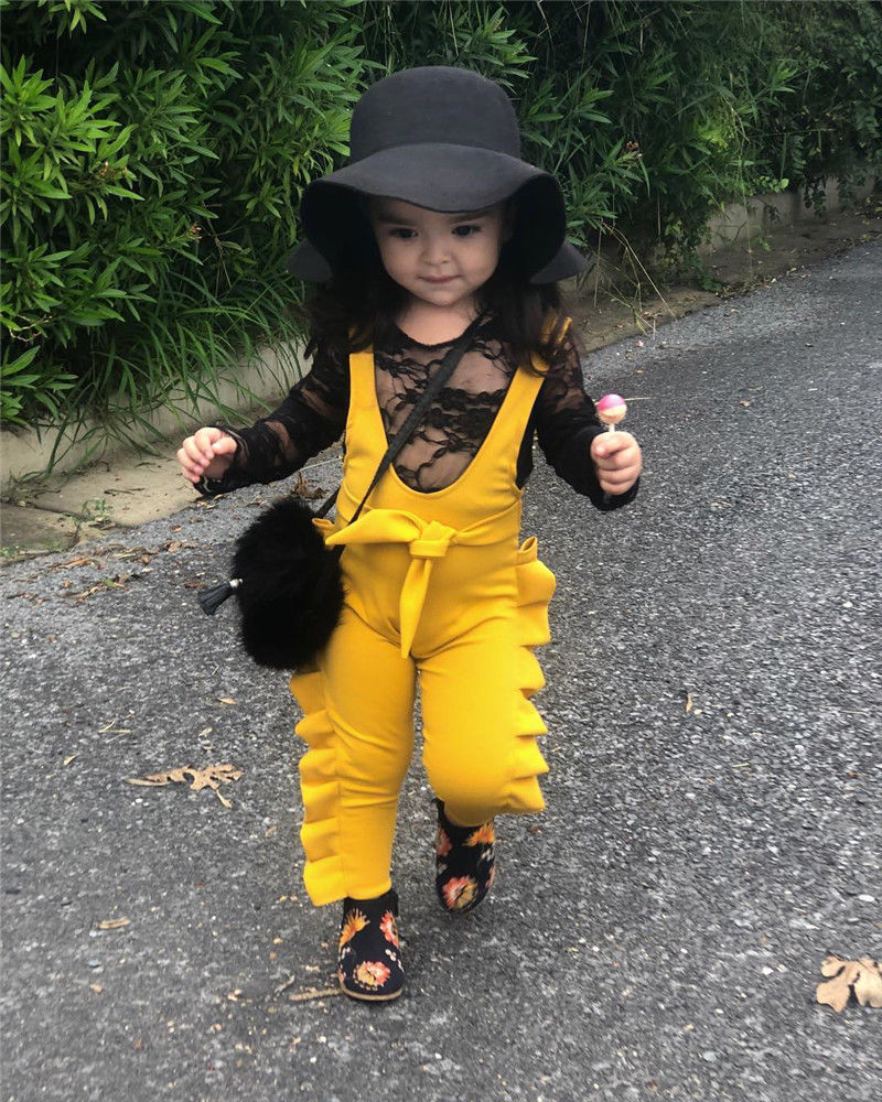 New Fashion Lovely Children Girls   Rompers   Sleeveless Solid Color Lace Up Jumpsuit Ruffles High Waist Outfit Clothes