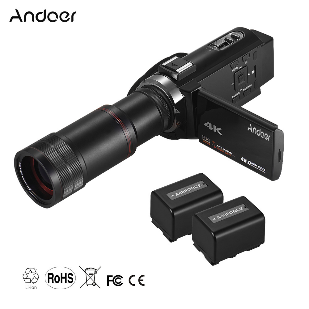 Andoer 4K HD Digital Video Camera Camcorder DV 16X Digital Zoom with 2pcs Batteries Stereo Condenser