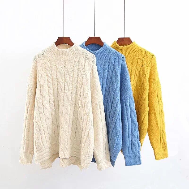 Pull femme pulls mode 2018 femmes automne et hiver nouveau polyvalent collier à hauteur de moitié top en tricot pullover décontracté