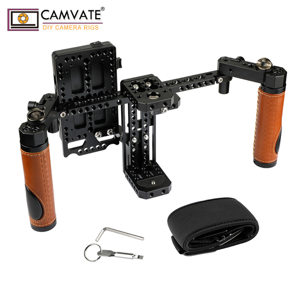 CAMVATE Camera Director s Monitor Cage Rig With Handle Grips Neck Strap C1946