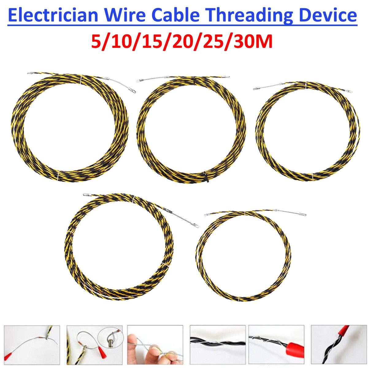 5/10/15/20/25/30m*6mm Electrician Wire Cable Threading Device Wire Cable Running Puller Electrical Wires Threader Rodder Pulling