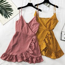 2019 Summer Polka Dots Sexy Dress Women V-neck Ruffles Mini Retro Sleeveless Vintage Dresses