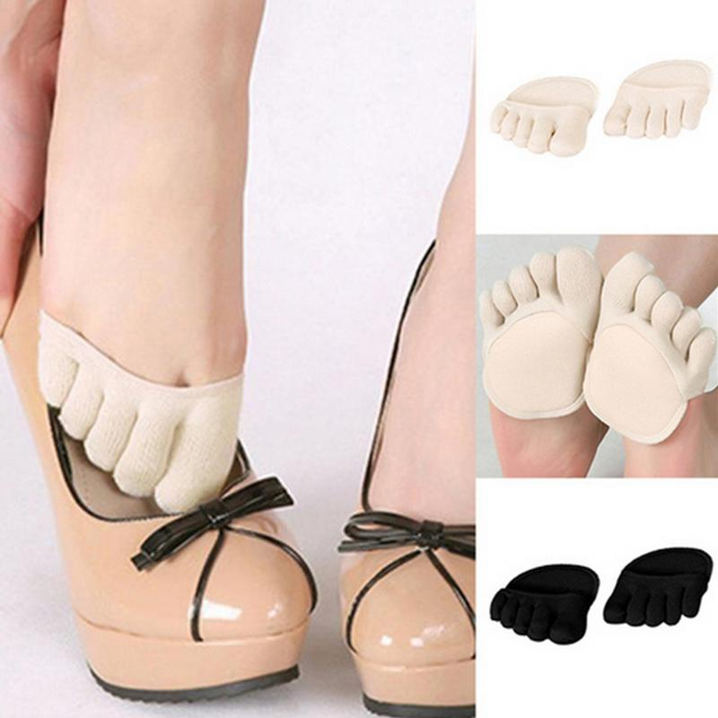Thin Toe   Socks   No Heel Open Toe Sweat-absorbent Anti-slip Half Sole Sandals   Socks   With Invisible Forefoot Cushion Pad Foot   Socks