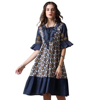 efd0c2e88cc  2430 летнее Ковбойское Сплит Совместное винтажное джинсовое платье с  принтом с коротким рукавом женское v-образный вырез оборки А-силуэта дж.