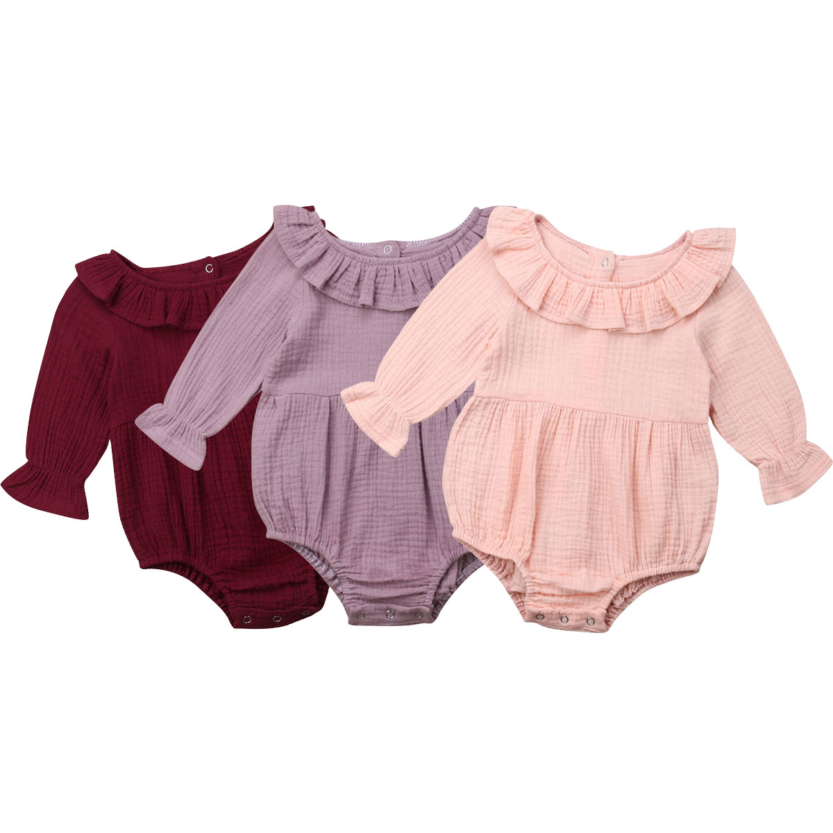 Infant Newborn Baby Girls Clothing 2019 New Long Sleeve Ruffles   Romper   Baby Girl Jumpsuit Playsuit Baby Costumes Solid