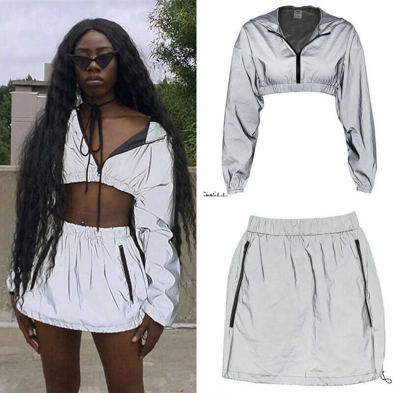 Sexy Women 2PCS Bodycon Reflective Zip Crop Top Skirt Set Clubwear  Party Hooded