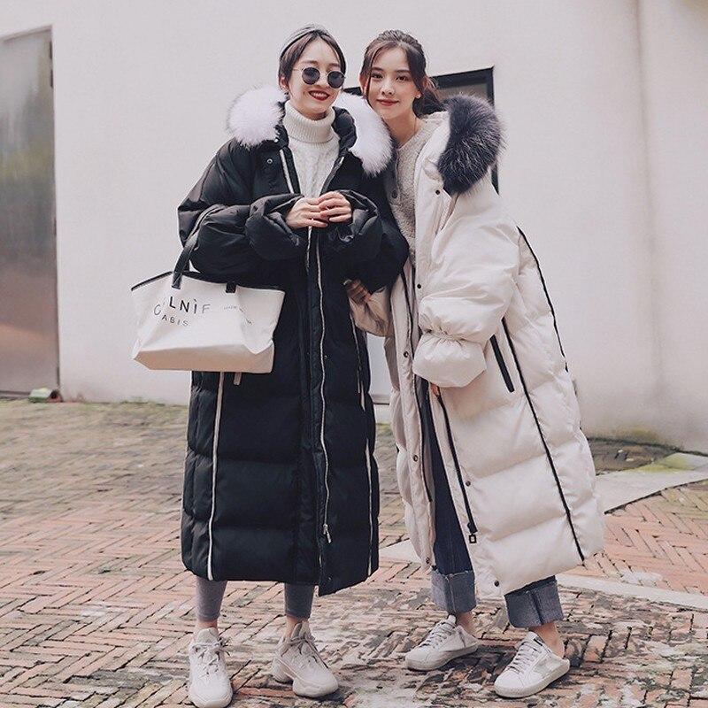 2019 black Femmes Hiver Capuchon Veste Lâche Femelle À Survêtement Chaud Épais Fourrure Mode Grand Tempérament White De Bas Occasionnel Col Coton Parker zwqxf10