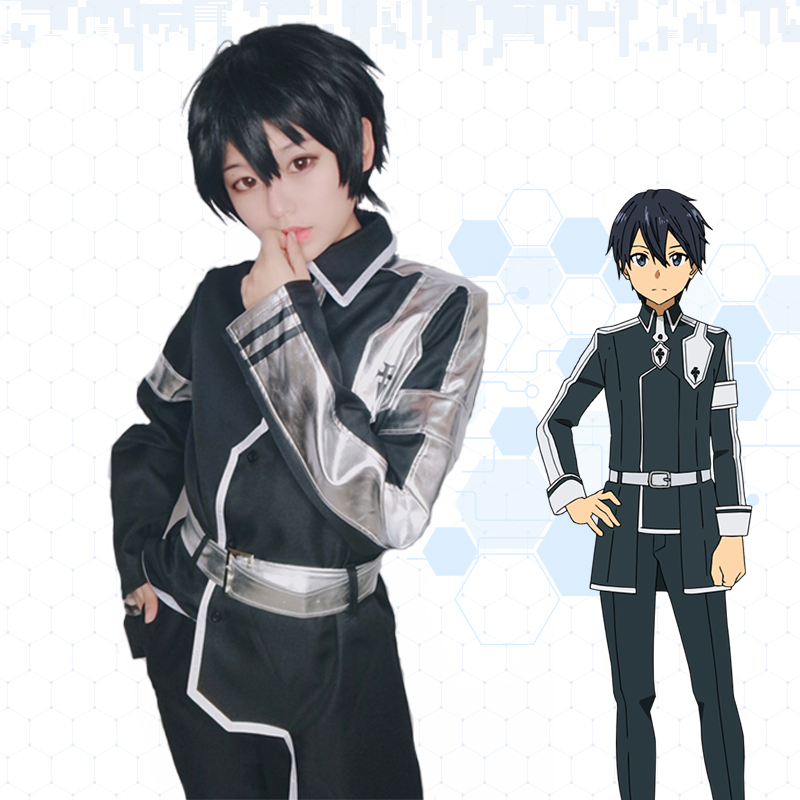 Milky Way Anime Sword Art Online Alicization Kirigaya Kazuto Cosplay  Costume long coat belt pants SAO Cosplay Battle Suit