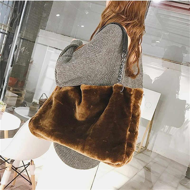 Aequeen Feminin Bolsa Mewah Bulu Imitasi Tas untuk Wanita Musim Dingin Tas Kapasitas Besar Tas Bahu Wanita Tote Top-Handle tas