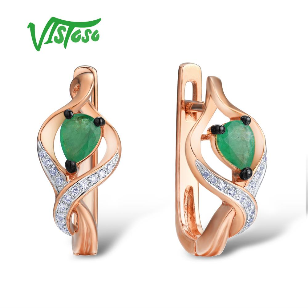 VISTOSO Gold Earrings For Women 14K 585 Rose Gold Glamorous Elegant Shiny Emerald Sparkling Diamond GlamorousTrendy Fine Jewelry-in Earrings from Jewelry & Accessories    1