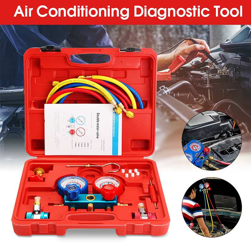 Car Air Conditioning R134A HVAC A/C Refrigeration Kit AC Manifold Gauge Set Auto Service Kit  Repair Fluorine Filling ToolCar Air Conditioning R134A HVAC A/C Refrigeration Kit AC Manifold Gauge Set Auto Service Kit  Repair Fluorine Filling Tool
