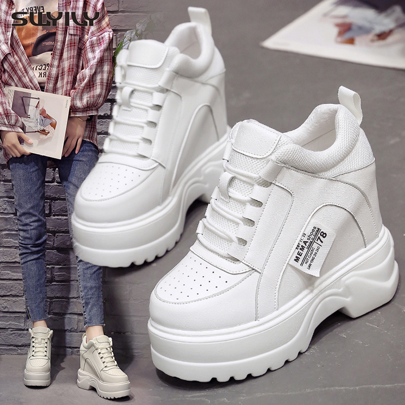 SWYIVY Shoes Causal Sneakers For Woman White Wedge High Sneakers 2019 Sping White Shoes Female Platform Sneaker Wedge High Heels