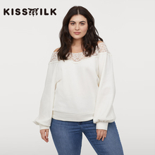 Kissmilk Plus Size Simple sweet pure white lace stitching collar long sleeve sweater top