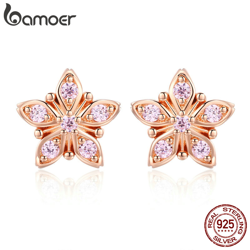 37847bcfe BAMOER Genuine 925 Sterling Silver Sakura Pink Flower Exquisite Stud  Earrings for Women Wedding Party Jewelry