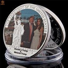 45th presidente dos eua trump e melania qualidade 999.9 banhado a prata metal comemorativa moeda vale a coleção
