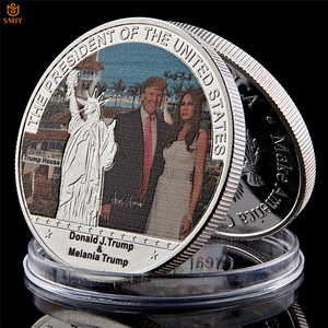 45th US President Trump And Melania Quality 999.9 Silver Plated Metal Commemorative Coin Worth Collection