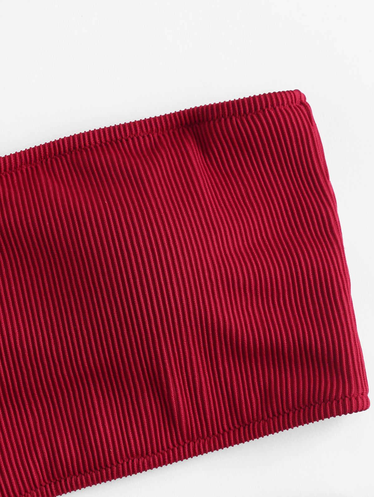ZAFUL jednolity kolor regulowane paski Bandeau stringi Bikini Set lato tekstura biquini klocki Sport strój kąpielowy plaża stroje kąpielowe