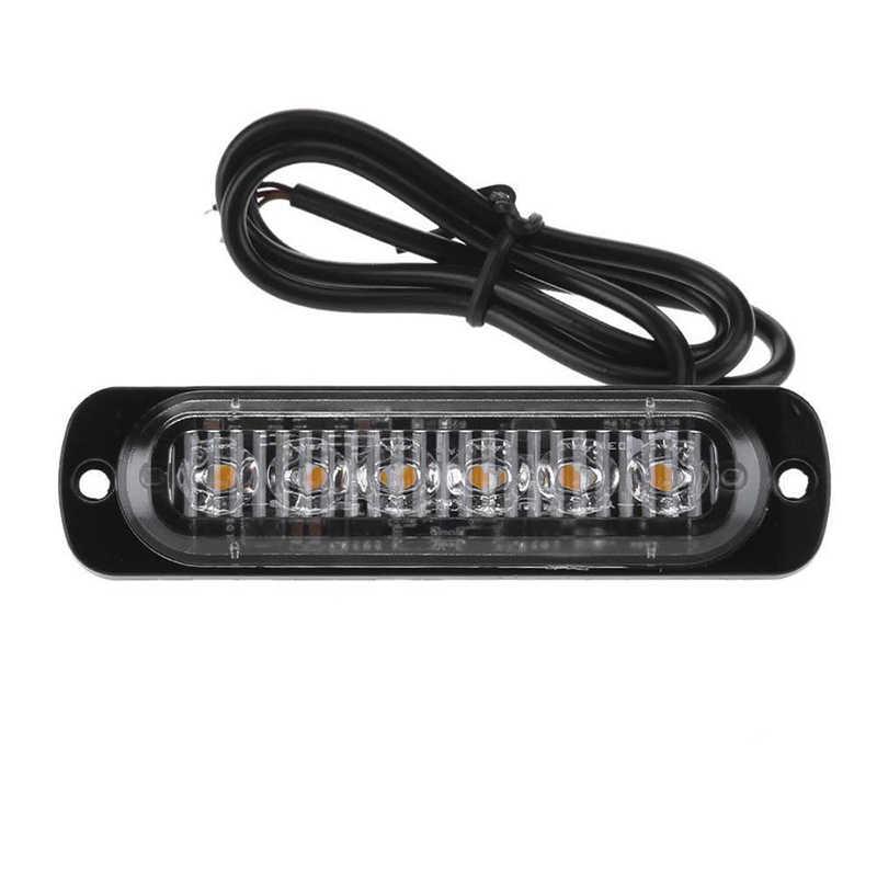 12 piezas 6 LED amarillo estroboscópico camión Van intermitente luz lateral de advertencia 12 V-24 V