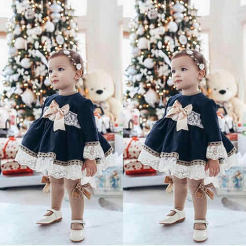 2019 New Princess Lace Dress Baby Kid Girl Lace Long Sleeve Dress Party Wedding Pageant Chidlren Girls Bowknot Navy Dresses