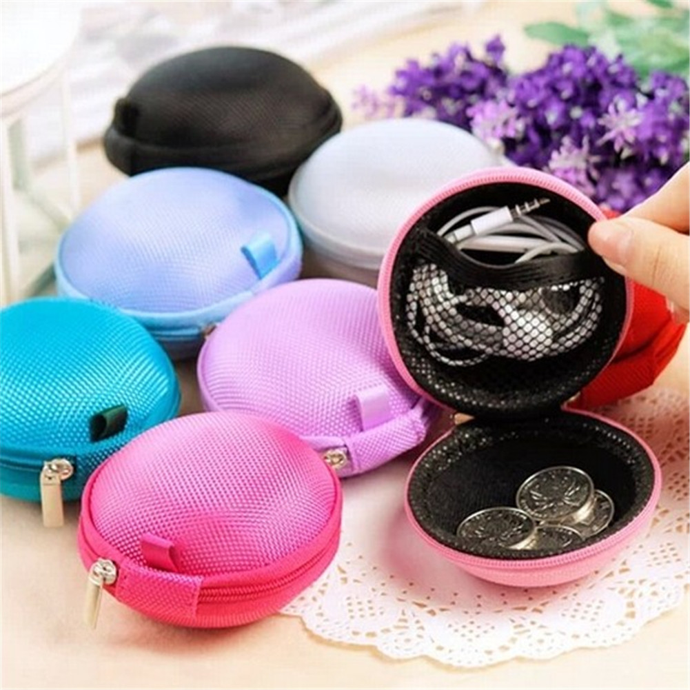 Mini Zipper Earphone Headphone SD Card Storage Bag Box Carrying Pouch Round Case Women Coin Purses Wallet