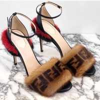 19ss Mixed Color Plush Runway Gladiator Sandals Sexy Peep Toe Buckle Strap Party Sandals Thin High Heel Banquet Woman Shoes