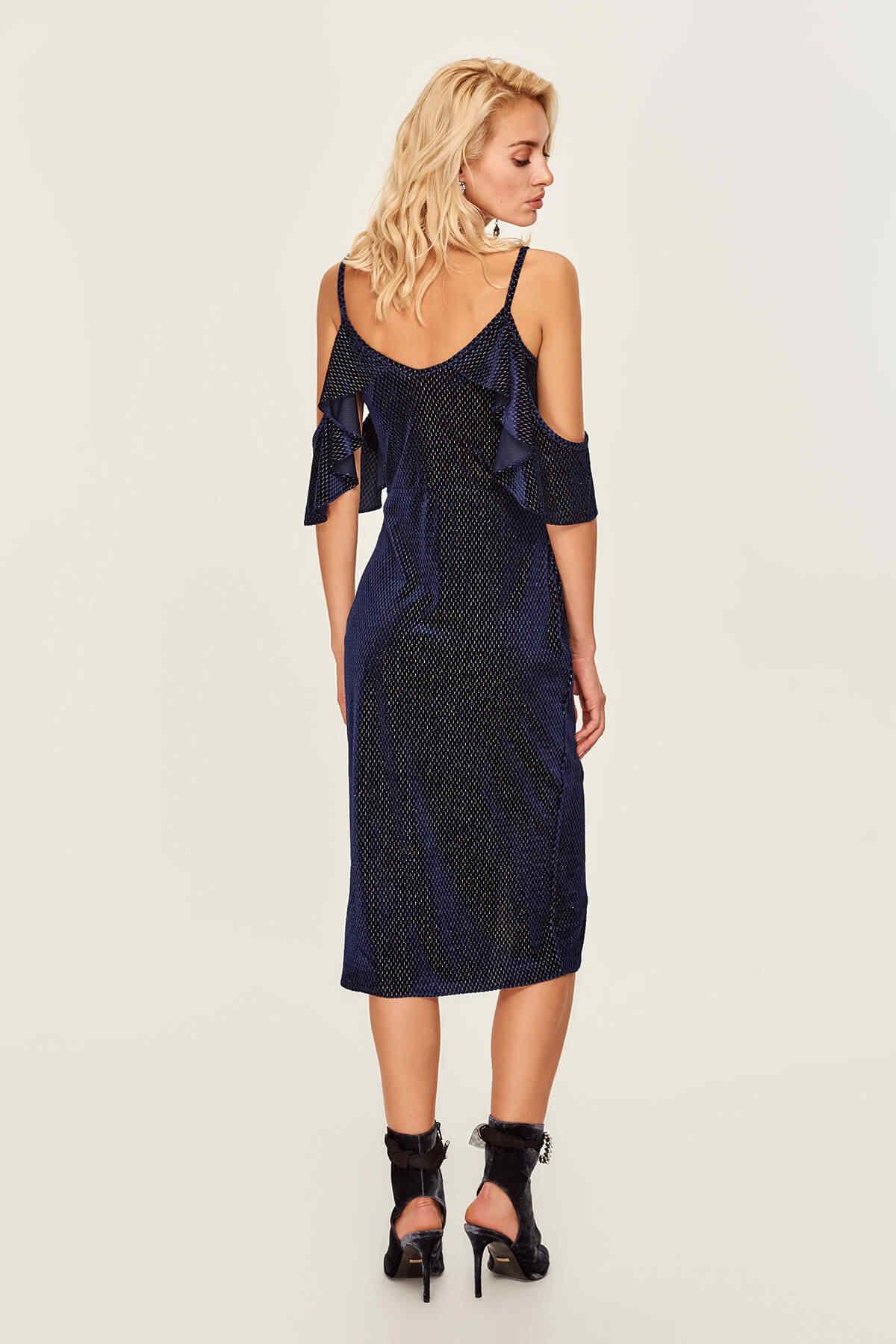 Trendyol spécial robe en tissu de velours bleu foncé TPRAW19UT0084