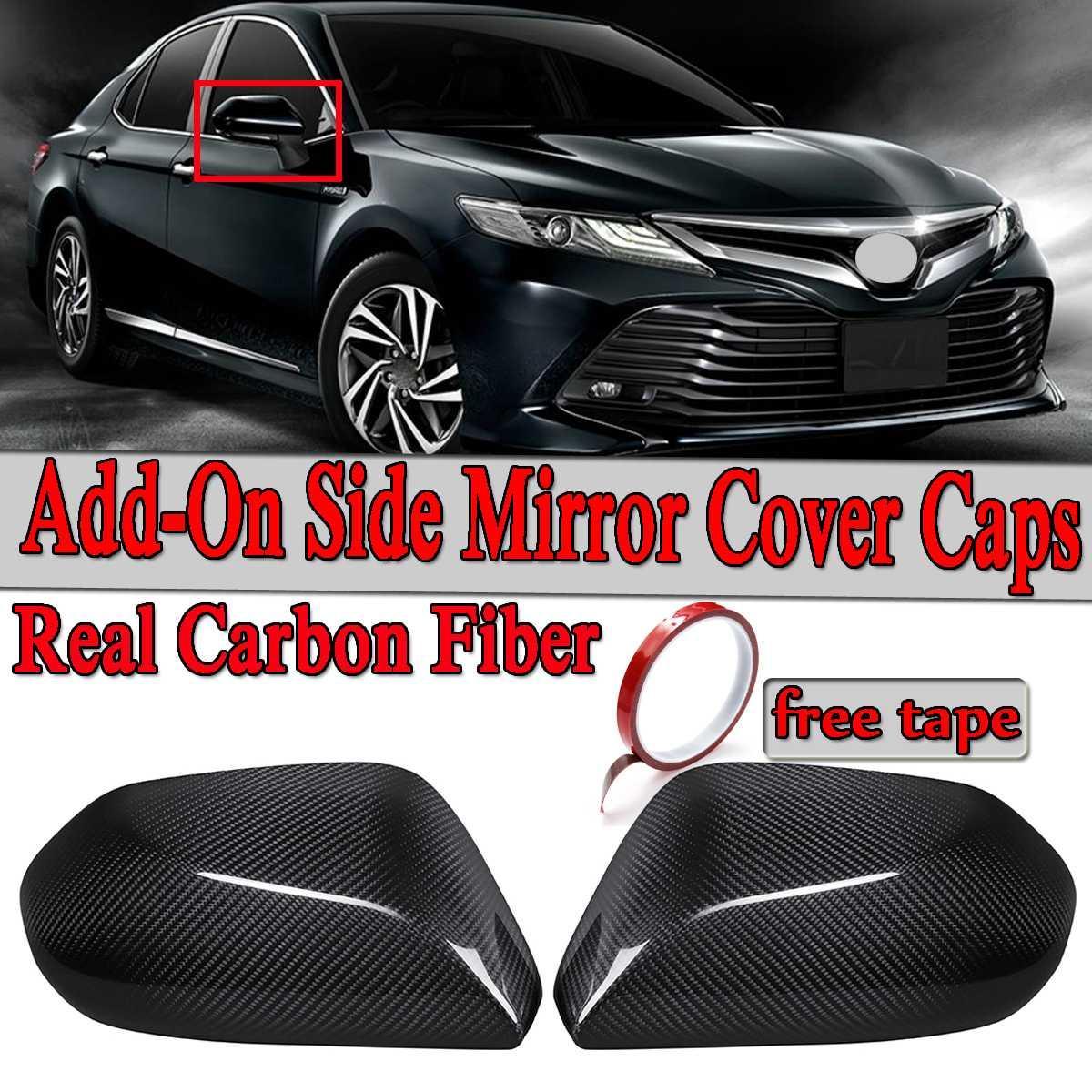 2x réel fibre de carbone Add-On voiture rétroviseur couvercle capuchons garniture autocollant s'adapte pour Toyota Camry LE SE XLE XSE 2018