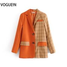 New Womens Plaid Check Print Orange Contract Color Suit Blaz