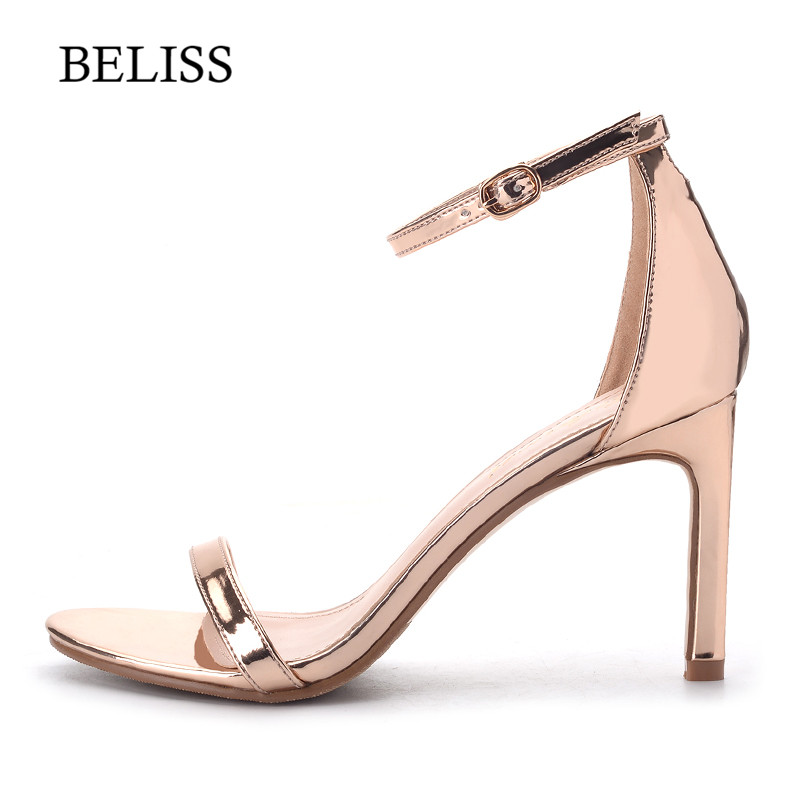 BELISS 2019 High Heels Sandals Women Shoes Buckle Big size Open Toe Hollow Out Bling PU Party Ankle-Wrap Ladies Summer S32